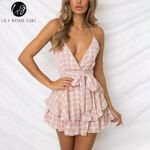 V Neck Sexy Female Playsuit Plaid Boho Floral Playsuit Shorts