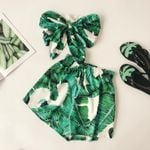 wear green print leafs boho wide leg pants shorts 2 pieces