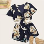 Set Floral Printed Short Sleeve Strappy 2 Piece Boho Crop
