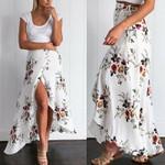 Stretch High Waist Floral Long Skirt Maxi Pleated