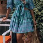 Floral Print Tassels  Elastic Waist Vintage Ladies Mini Skirts