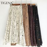 Fashion Print Chiffon Skirt Female Boho Sun High Waist Skirt
