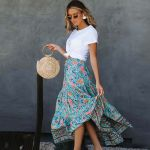 Casual Beach Soft Rayon Maxi Skirt Elastic Waist