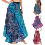 Long  Boho Flowers Elastic Waist Floral Halter Skirt