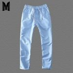 Natural Cotton Linen Trousers Solid White Elastic  Pants
