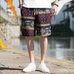 Beach Hawaii Men linen Loose Straight Comfortable Shorts