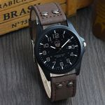 New clock Date Leather Strap Sport Quartz Military Watches