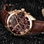Top Luxury Waterproof Quartz Clock Brown Leather Sports Watches