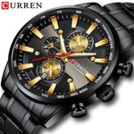 Black Gold Fashion Quartz Sports Wristwatch Chronograph Watches