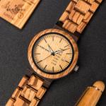 Quartz Movement Complete Calendar Week Display Fashion Wood Watches