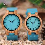 Zebra Timepieces Turquoise Blue Great Gifts Wood Watches