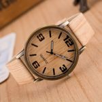Fashion Quartz Wristwatches Casual Color Leather Strap Wood Watches
