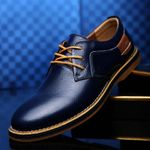 Genuine Leather Dress Brogue Lace Up Flats Casual Oxford Shoes
