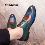 Full Brogue Casual Blue Patchwork Oxford Shoes