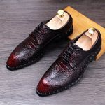 Crocodile Leather  Lace-Up Business Flats Oxford Shoes