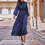 Lantern Sleeve Polka Dot Printed Long Elegant Vintage Boho Bohemian Dress