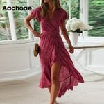Floral Print Long Chiffon Short Sleeve Style Boho Bohemian Dress