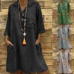 Solid Turn-down Collar Sleeve Casual Pocket Button Boho Bohemian Dress