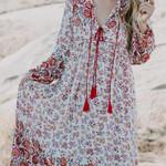 Inspired floral sleeve tassel loose vestidos Boho Bohemian Dress