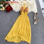 Holiday Embroidery  Waist Vestidos Boho Bohemian Dress