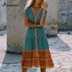 Style Folk Floral Tropical Holiday Boho Bohemian Dress