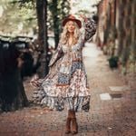 Long Sleeve Vintage Ethnic Maxi boho bohemian dress
