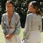 Sleeve Open Front Cardigan Knotted Tie Boho Bohemian Tops