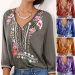 New Embroidered Flowers Deep V-Neck Three Quarter Boho Bohemian Tops