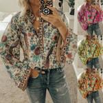 Floral V Neck Flare Sleeve Loose T-shirt Boho Bohemian Tops