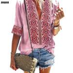 Ethnic Style T shirt Sexy V Neck Beach Blusas Boho Bohemian Tops