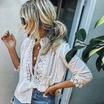 Floral Lace Sheer 3/4 Sleeve Embroidery Boho Bohemian Tops