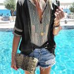 Fashion Haut Femme Comfortable Tshirt Boho Bohemian Tops