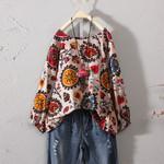 Shirt Floral Long Sleeve Cotton Vintage Boho Bohemian Tops