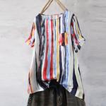 Short Sleeve Graffiti Rainbow Boho Bohemian Blouse & Shirts