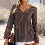 Long Sleeve Vintage Daily V Neck Boho Bohemian Blouse & Shirts