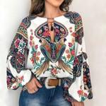 Clothing Plus Size Vintage Floral Print Boho Bohemian Blouse & Shirts