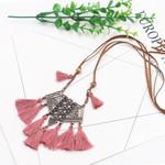 Vintage Long Tassel Pendant Necklace Boho Bohemian Sweaters