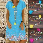 Ethnic Tassel Necklace Colorful Wood Bead Boho Bohemian Sweaters