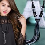 Long Crystal Knot Bow Tie Tassel Austria Beads Boho Bohemian Sweaters
