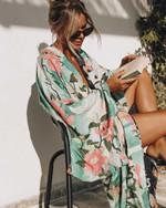 Green Vintage Tops Beachwear Boho Bohemian Kimonos