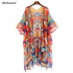 Colorful Floral Mujer Feminino Cardigan Boho Bohemian Kimonos