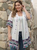 Half Sleeve coat Floral Tassel Splice Fashion Boho Bohemian Jackets & Coats