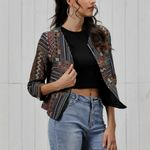 Fall Long Sleeve Embroidery O-Neck Boho Bohemian Jackets & Coats
