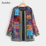 Print Coat Vintage Cardigan Outwear Boho Bohemian Jackets & Coats