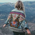 Denim floral appliques  vintage sleeve Boho Bohemian Jackets & Coats