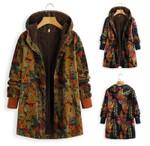 Fashion print  warmer Full Sleeve Button Boho Bohemian Jackets & Coats