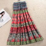 Maxi Elastic High Waist Sashes Vintage Pleated Boho Bohemian Skirts