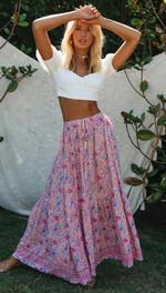 Fashion Floral Print Beach High Waist Elastic Boho Bohemian Skirts