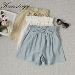 Vacation Beach Ruffle Trim Self Tie Elastic Boho Bohemian Shorts
