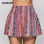 Multicolor Vacation Beach Graphic Print Elastic Boho Bohemian Shorts